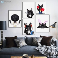 Cute Fashion Hippie Dog Pet Bulldog Cosplay Poster Nordic Living Room Wall Art Print Picture Home Decor Canvas Painting No Frame(China)