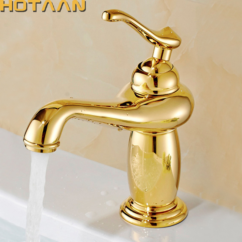 Free Shipping New arrival Bathroom gold Basin Faucet Gold finish Brass Mixer Tap with ceramic torneiras para banheiro