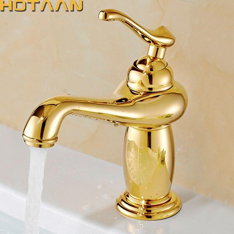 Freies Verschiffen Neue ankunft Badezimmer gold Becken Wasserhahn Gold finish Messing Mischbatterie mit keramik torneiras para banheiro