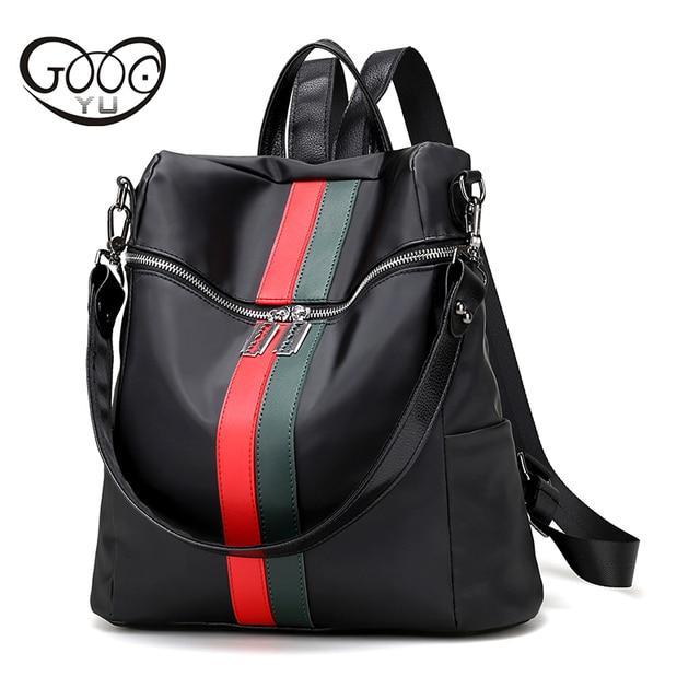e5d16ead5d52b Naylon su geçirmez laptop sırt çantası kadın Şık kare tasarım renk çubuğu  dekorasyon deri sırt çantası