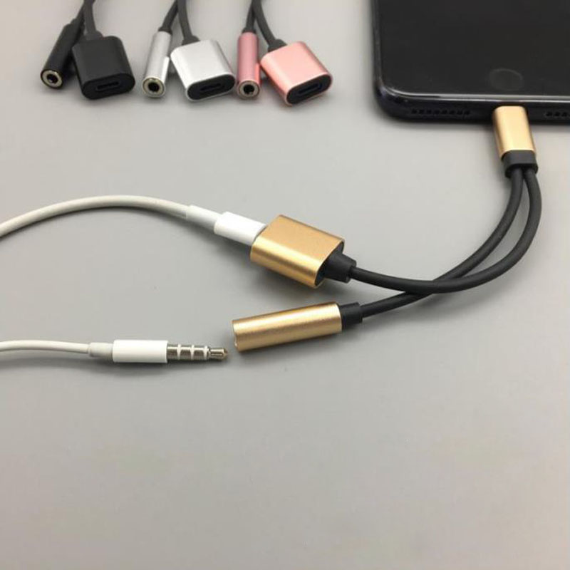 For IOS 12 Audio And Charging Adapter 3.5mm Aux Jack Headphones Earphones Splitter Cable For Iphone X XS Max XR 7 8 Plus