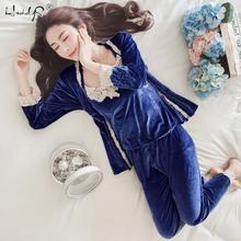 Осенне зимний теплый пижамный комплект, женская сексуальная одежда для сна, золотой бархатный топ + длинные брюки + халат, 3 предмета, пижамные комплекты, костюм для взрослых