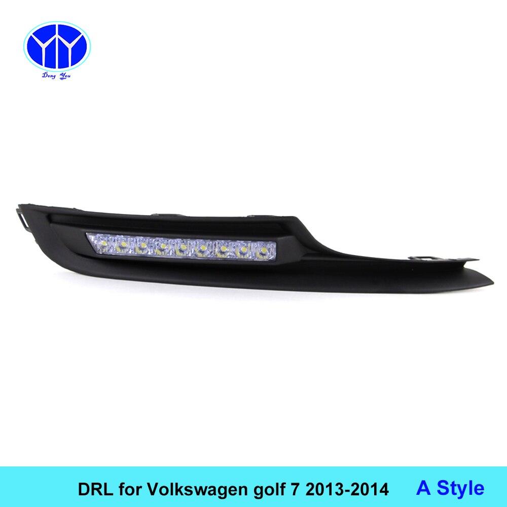 Автомобиль DRL комплект для Фольксваген Гольф 7 2013 2014 светодиодные дневные ходовые свет бар супер яркий противотуманные авто лампы дневного света VW автомобиля Сид DRL