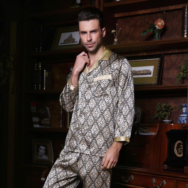 YIER Brand Man's Pyjamas 100% Silk Men Pajamas Long-Sleeve Sleepwear Pants Sets YF2515