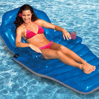 170cm Giant Blue Deck Chair Inflatable Pool Float 2018 New Summer Air Bed Folding Island Beach Lounger Floating Raft Swim Board
