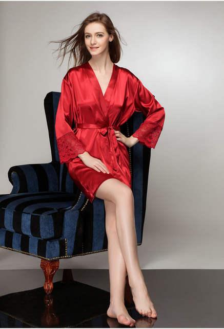 437c0401e1 Free Shipping plus size sexy satin robe for women sexiest lingerie  nightwear bathrobe silk robe women
