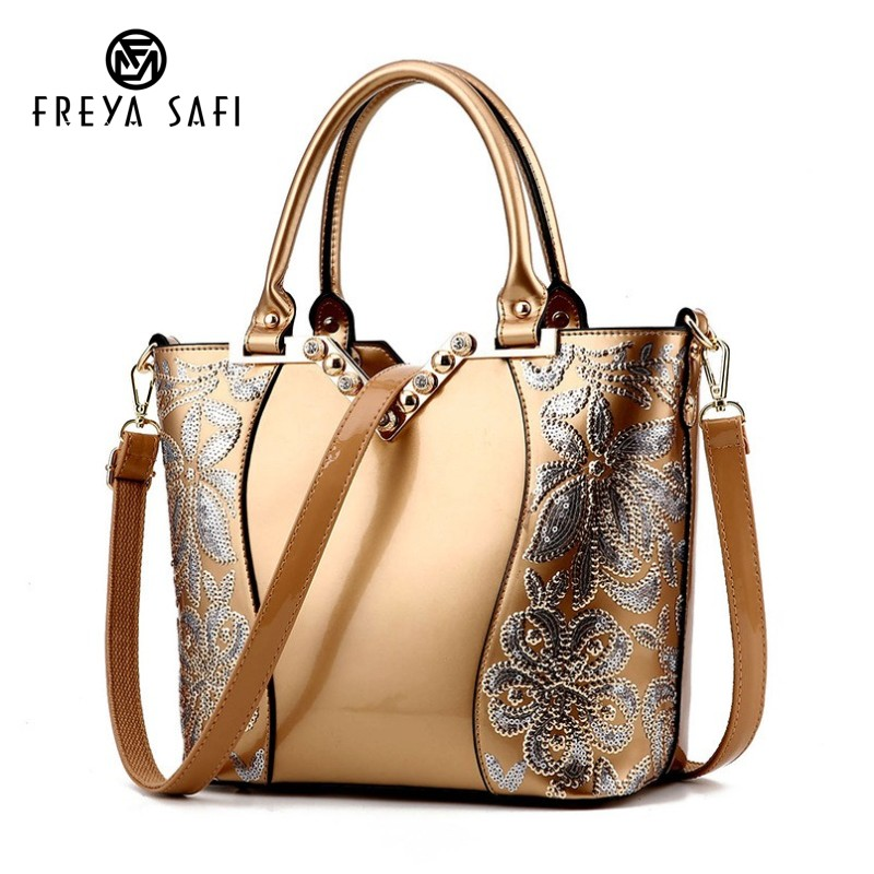 Luxury Sequin Embroidery Women Bag Patent Leather Handbag Diamond Shoulder Messenger Bags Famous Brand Designer 2018 Freya Safi