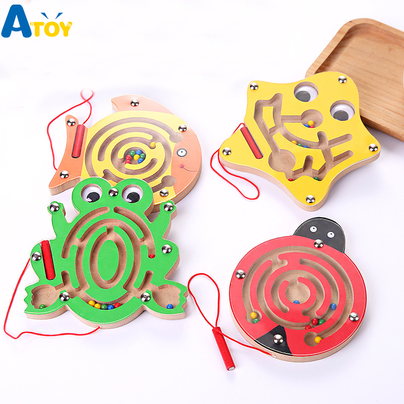 Children Magnetic Maze Toy Kids Wooden Puzzle Game Toy Kids Early Educational Brain Teaser Wooden Toy Intellectual Jigsaw Board drone helipad