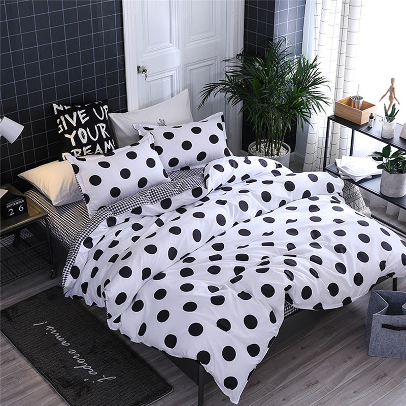 Image 3 - Four Piece Quilt Cover, Pillowcase Dot Black Full Size duvet cover  bedroom sweet dreams Gently mattresses beauty salon couch-in Bedding Sets from Home & Garden
