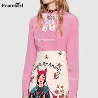 Ecombird 2018 Spring Summer Women Long Sleeve Pink Shirts Runway Fashion High Quality Flower Print A