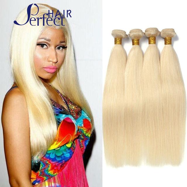 Queen Love Hair 4pcs Lot Blonde Brazilian Hair Weave Bundles Color
