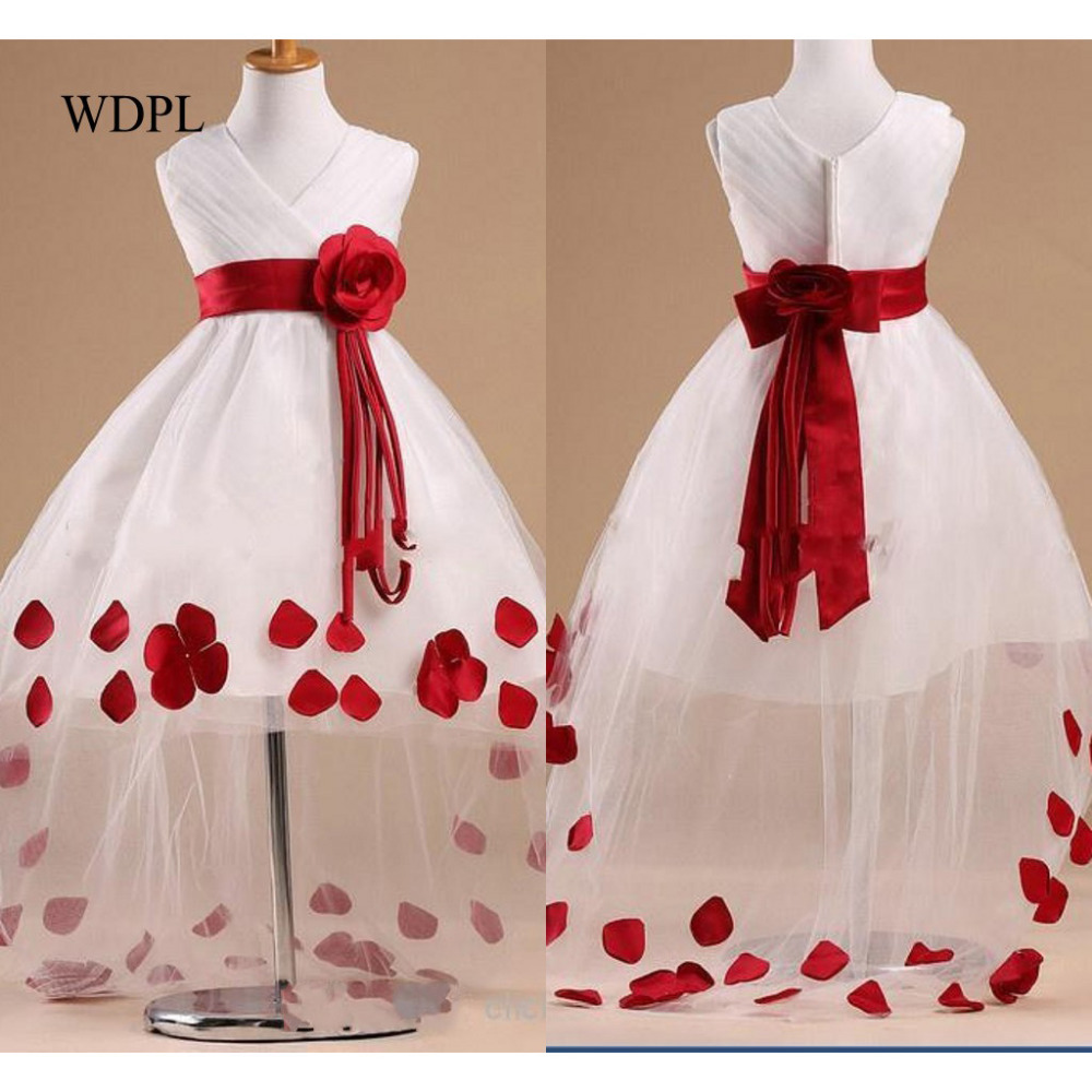 Cheap White   Flower     Girl     Dresses   Hi Low Child Pageant   Dresses   Beautiful Tulle   Flower     Girls   Dresse Sash Petals vestido daminha