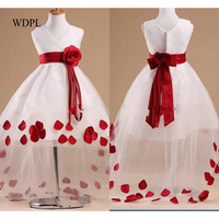 Cheap White Flower Girl Dresses Hi Low Child Pageant Dresses Beautiful Tulle Flower Girls Dresse Sash Petals vestido daminha