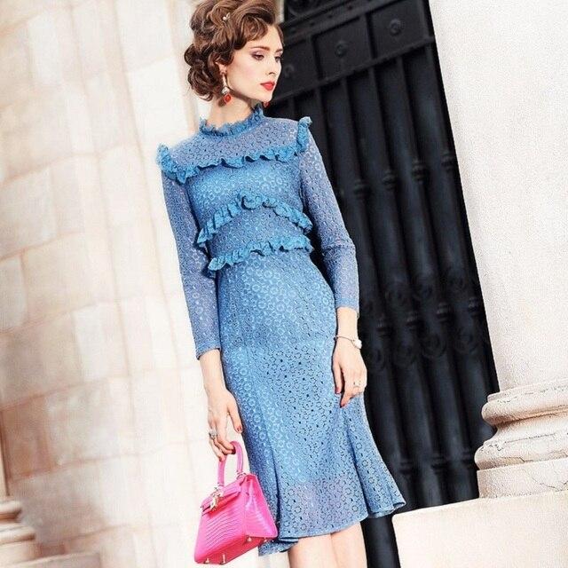 office work lace Dress 2018 Spring autumn Long sleeves Clothes women  elegant plus size runway ladies Ruffles dress winter dbbb01ee16f8