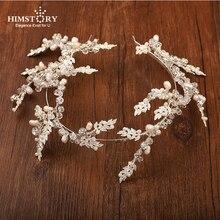 HIMSTORYLuxury Silver Leaves Flower Crystal Wedding Headband Hair Accessories Rhinestone Bridal Hairband Crown Tiara Hairwear