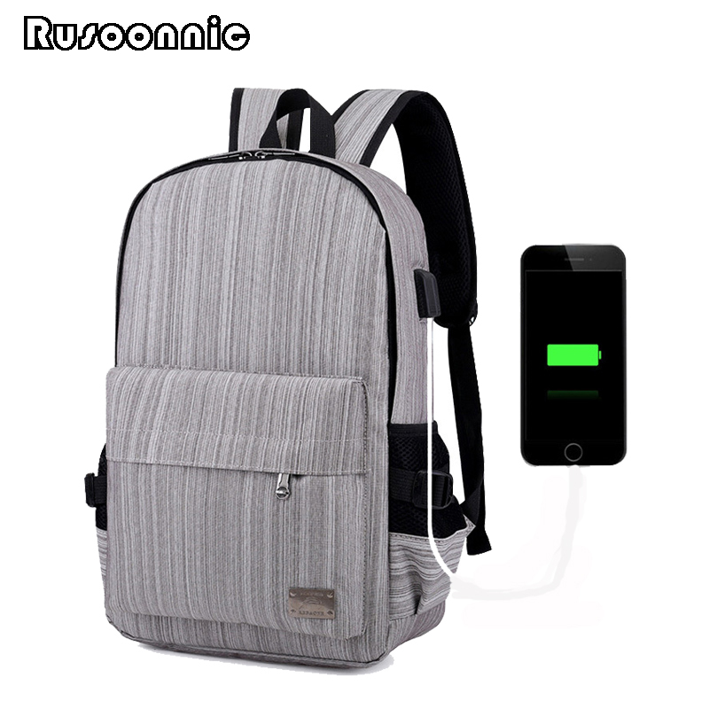 Rusoonnic Laptop Backpack Canvas USB Backpacks Women Oxford Travel Bags Retro Bagpack School Bag man mochila masculina