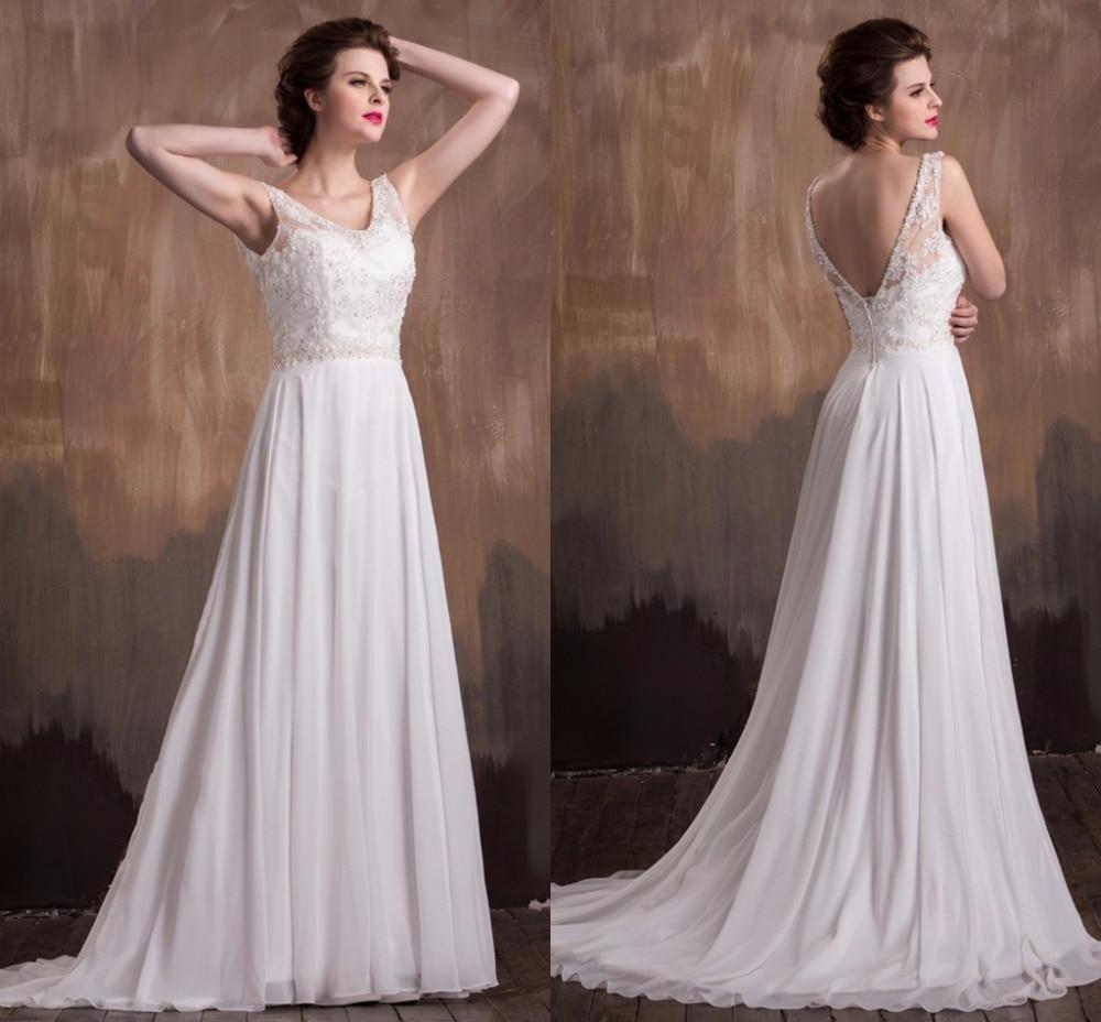 A line Perlen Chiffon Brautkleider V ausschnitt Sleeveless Frauen ...