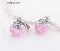 Pandulaso Vlinder Charm met Roze CZ Kralen voor Sieraden Maken Fit Vrouw DIY Charms armbanden 100% 925 sterling zilveren sieraden