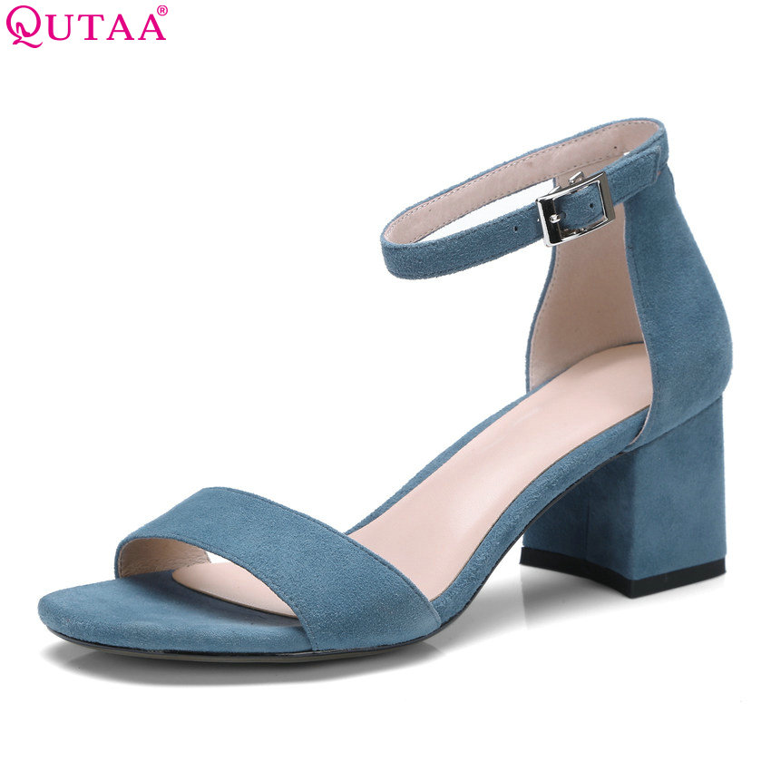 QUTAA 2018 Women Sandals Cow Suede Elegant Shoes Square High Heel Peep Toe Buckle Platform Casual Women Sandals Size 34-42 qutaa 2018 women sandals pu leather fashion square high heel women shoes casual black square toe ladies sandals size 34 42