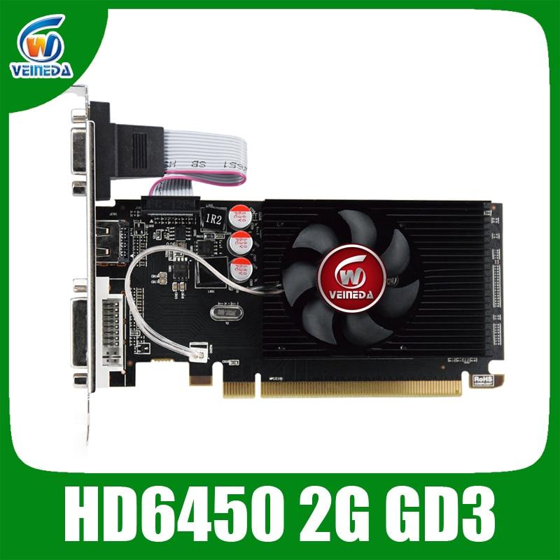 Veineda original HD6450 2GB DDR3 64Bit  625/1000MHz DVI VGA for normal PC and small PC