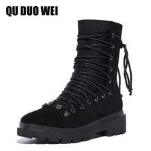 QUDUOWEI 2018 New Auutmn Punk Studded Ankle Boots For Women Black Genuine Leather Martin Boots Cross-Tie Low Heel Gothic Shoes
