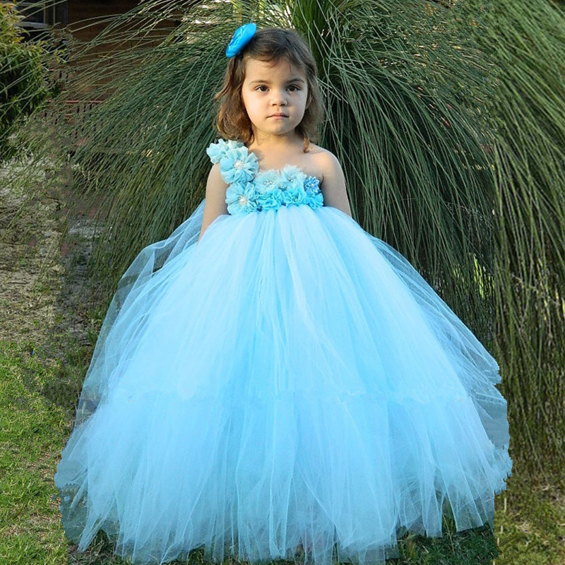 Light Blue Flower Girl Tutu Dress Pageant Vestido Tulle Princess Dress Kids Party Wedding Ball Gown Children Flower Girl Dresses