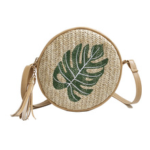 Women Shoulder Bag Straw Weave Leaf/Pineapple Embroidery Tassels Messenger Crossbody Bags PO66