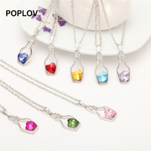 POPLOV Charm Heart Crystal Fashion Hollow Bottle Pendant Women Necklace Creative Gold&Silver Vintage Chain Love Jewelry Collar