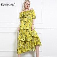 Dressnow Для женщин Slash шеи Плиссированные Длинное Платье Женская удобная ткань Цветочный принт желтый Для женщин платья высокое качество