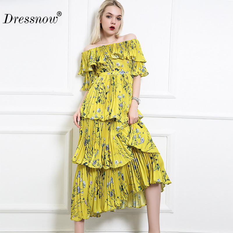 Women Slash Neck Pleated Long Dress Ladies Comfortable Fabric Floral Print Yellow Women Dresses High Quality Dress7