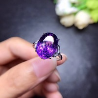 Natural amethyst ring, new cut, beautiful fire, beautiful color, 925 silver, unique gem