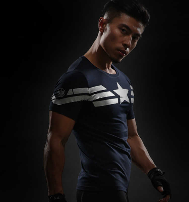Yeni Comic Süper Kahraman Sıkıştırma Gömlek Kaptan Amerika Demir adam Fit Sıkı G ym Vücut Geliştirme T Shirt