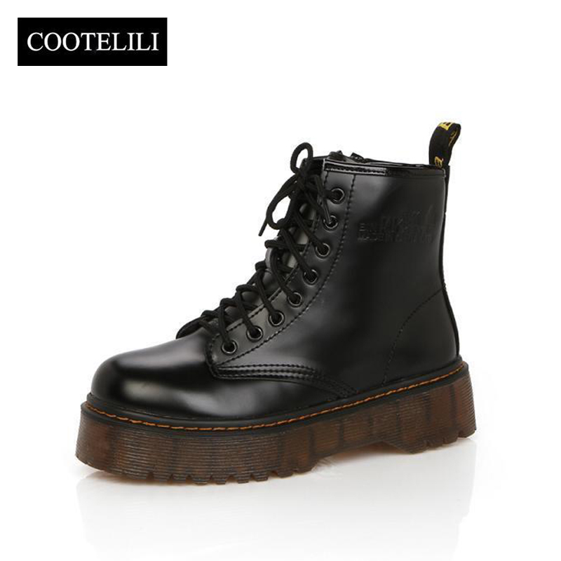 a1a1b5d4ac US $28.7 52% OFF|COOTELILI Botas Women Motorcycle Ankle Boots Wedges Female  Lace Up Platforms Autumn Winter Leather Oxford Shoes Woman high heels-in ...