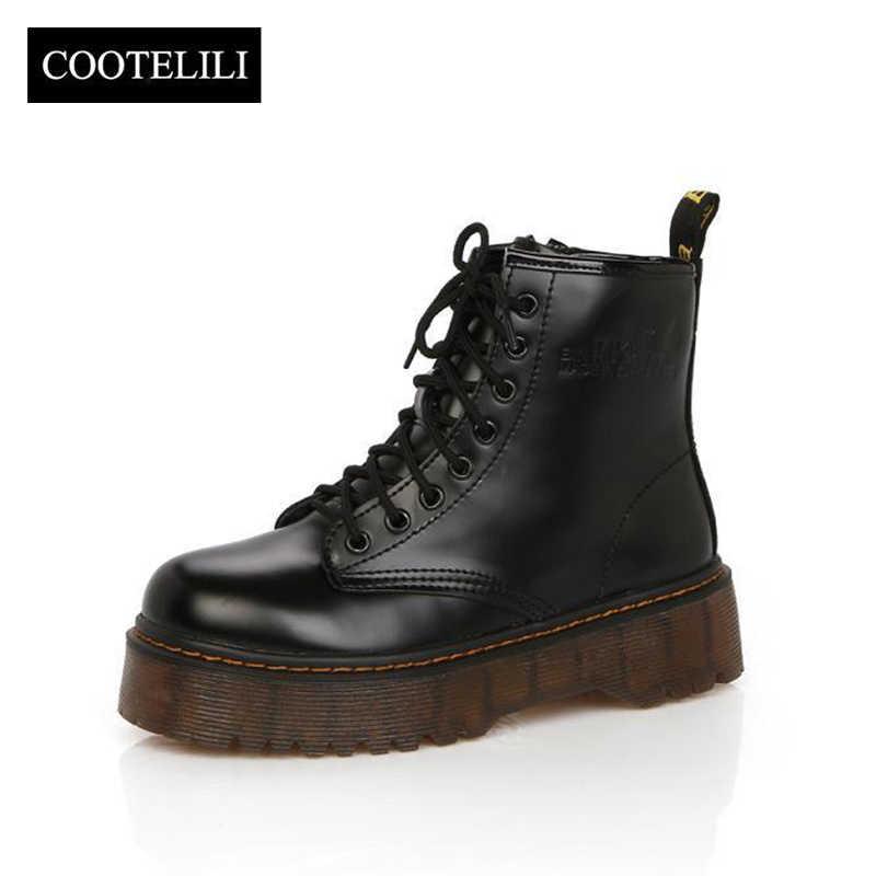COOTELILI Botas/женские мотоциклетные Ботильоны на танкетке; женские кожаные оксфорды на платформе со шнуровкой; сезон осень-зима; женские туфли на высоком каблуке