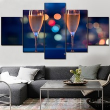 High Quality Canvas Pictures Print Type Poster Decorative Framework 5 Piece Champagne Paintings Wall Art Party Decor Chambotrade