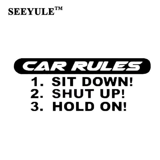1pc seeyule car rules cool letters car sticker vinyl decal car styling crazy racing sticker bumper