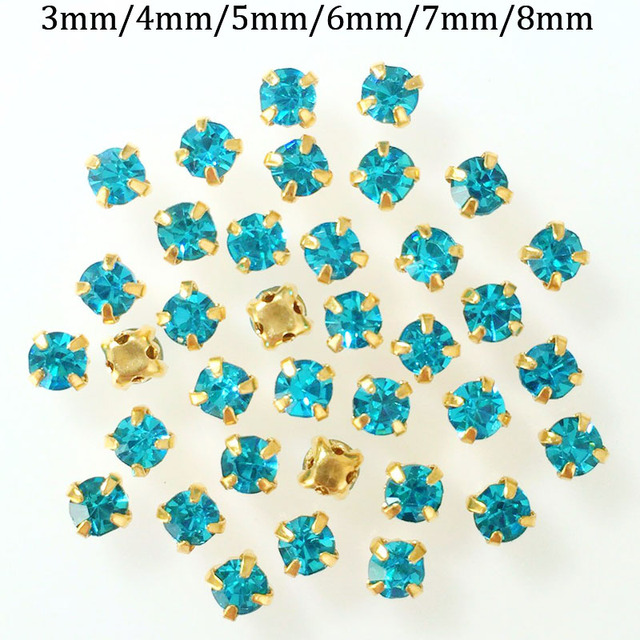 3mm 4mm 5mm 6mm 7mm 8mm lake blue color Gold bottom sew on rhinestone.diy Clothing  accessories f51e03dd9bfa