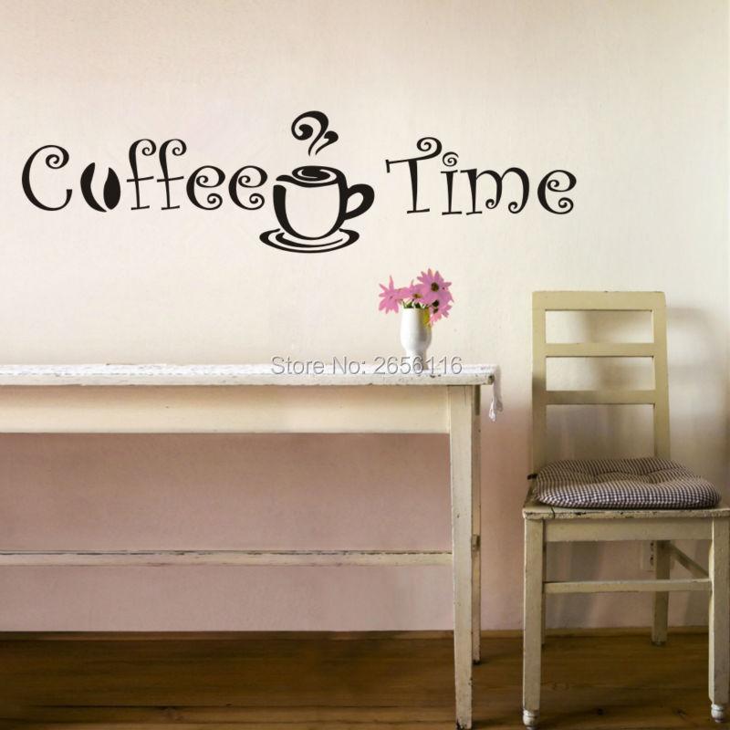 Кофе времени Цитировать стену виниловые наклейки Домашний Декор росписи для Кухня кафе украшения