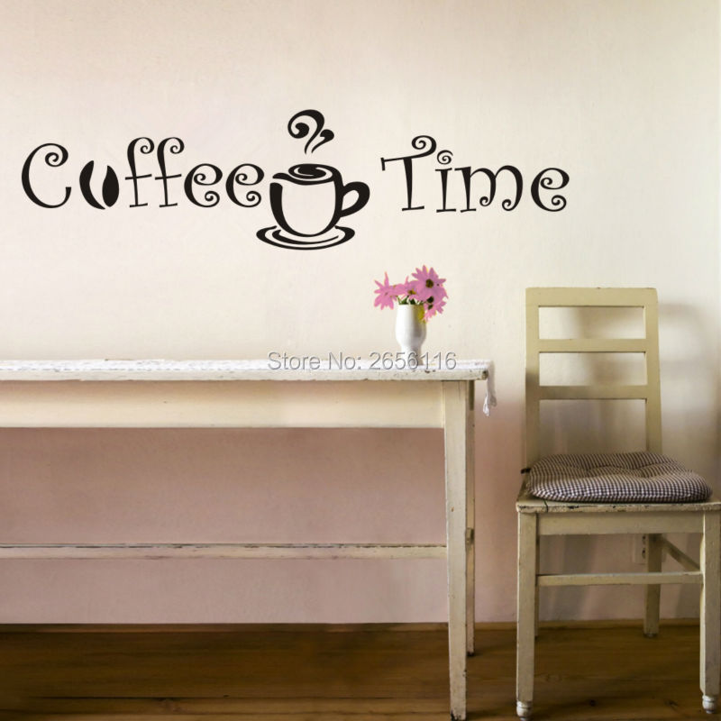 coffee time quote wall stickers vinyl home decor mural for kitchen
