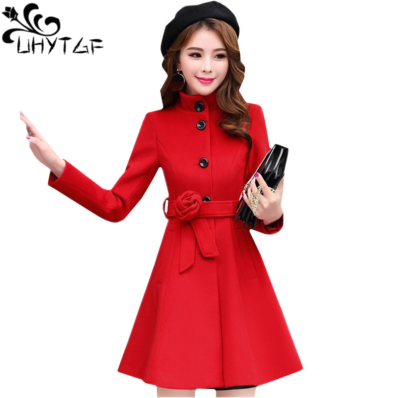 UHYTGF Fashion Slim Female Winter Woolen Jacket Medium length Standing collar Elegant Women Coat Casual plus