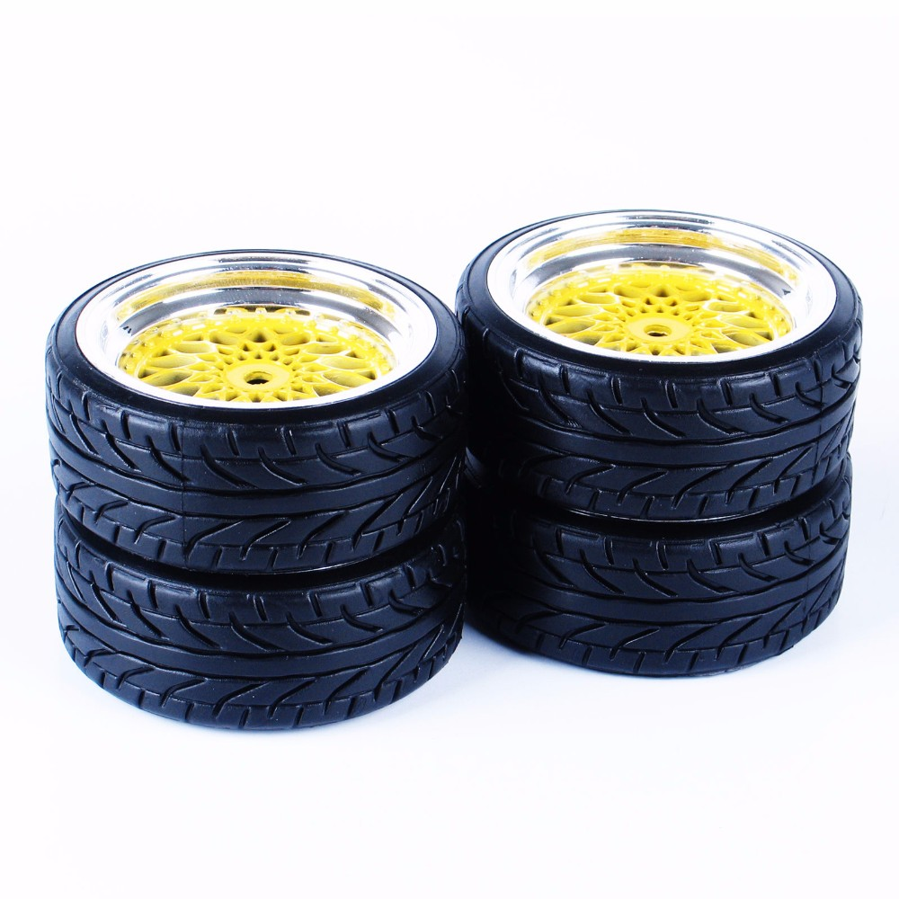 4PCS 1//10 Buggy Front and Rear wheel rim tire set Rc car For HPI kyosho tamiya