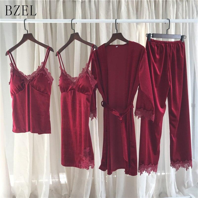 BZEL 4 Four Piece Female Sexy   Pajamas     Set   Robe Sling Warm Velvet Nightwear Long Sleeved Pants Women Nightgown 5 Color Sleepwear