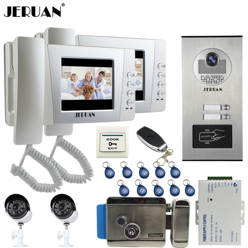 JERUAN 4.3`` LCD Video Door Phone Intercom System kit 2 Monitor RFID Access Camera for 2 Household Apartment + 2 Analog Camera jeruan home 7 video door phone intercom system kit rfid waterproof touch key password keypad camera remote control in stock