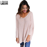 LAISIYI Autumn Winter Long Knitted Sweater Women Pullover Long Sleeve Casual Knitwear V Neck Sweater Sueter