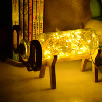 Scandinavian Solid Wood Creative Fire Tree Honeysuckle Lantern Handmade Glass Deer Night Lantern Christmas Birthday Gift Led