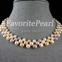 Free Shipping AAA Triple Row 7 8mm 16 Inches White Pink Purple Color Freshwater Pearl Necklace Wedding Party Jewelry