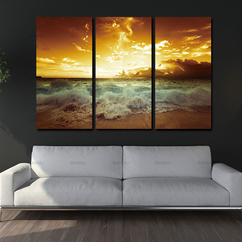 Yellow Sea Landscape Canvas Painting 3 Piece For Living Wall Home Decor Picture Art Prints Beach