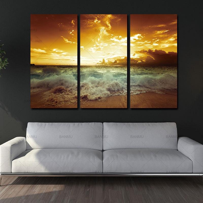 Yellow Sea Landscape Canvas 3 կտոր նկարելու համար - Տնային դեկոր - Լուսանկար 2