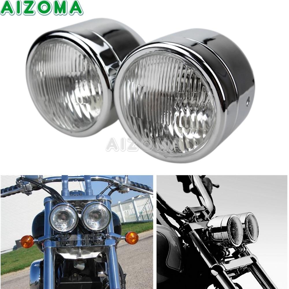 Dirt Bike Motorcycle Universal 4 Twin Headlight Chrome