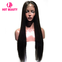 Hot Beauty Hair Brazilian Remy Silky Straight Lace Front Human Hair Wigs With Baby Hair 180% Density Pre Pluked Closure Hair Wig